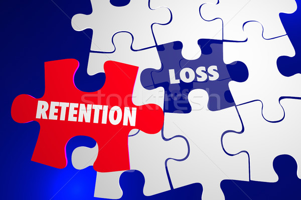 Retention Vs Loss Puzzle Piece Hold Onto Keep 3d Illustration Stock photo © iqoncept