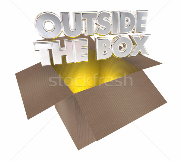 Outside the Box Thinking Opening Cardboard Package 3d Illustrati Stock photo © iqoncept