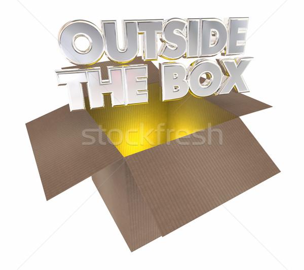 Fuori finestra pensare apertura cartone pacchetto Foto d'archivio © iqoncept