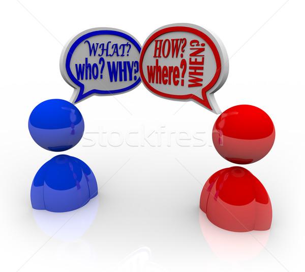 Vragen wat twee mensen praten beide vragen Stockfoto © iqoncept