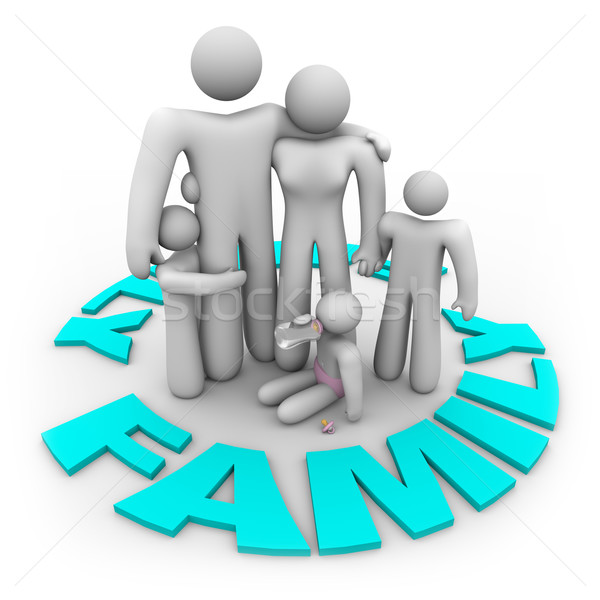 Family Word Circle - Mom Dad and Kids Stock photo © iqoncept