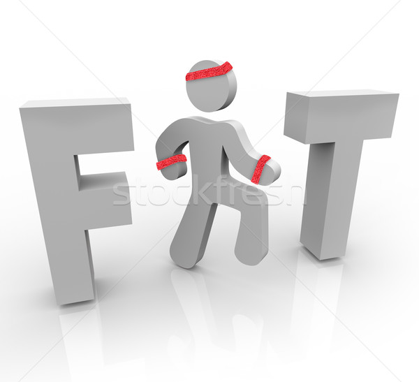 Fit - Exercising Man in Word Stock photo © iqoncept