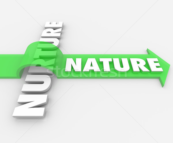 Nature Word Jumping Arrow Over Nurture Genetics Hereditary Stock photo © iqoncept