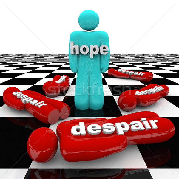 Egy személy remény kétségbeesés mindenki jelentőség hit Stock fotó © iqoncept