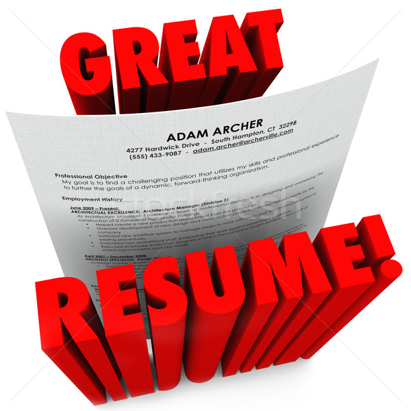 Great Resume 3D Red Words Successful Application Stock photo © iqoncept