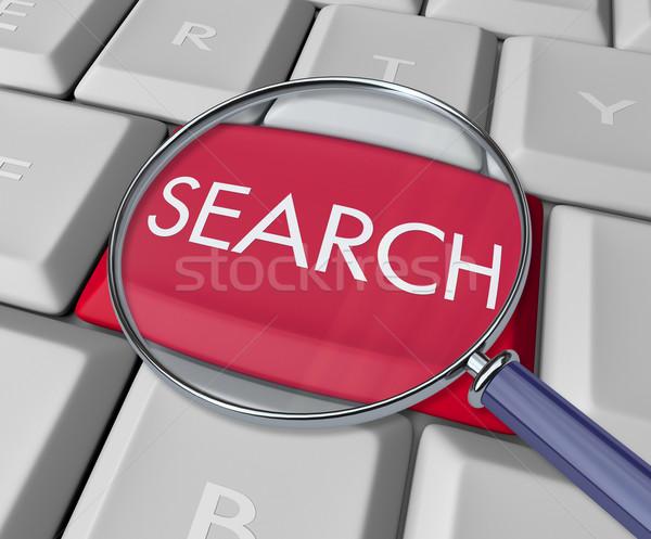 Zoek sleutel toetsenbord Rood lezing Stockfoto © iqoncept