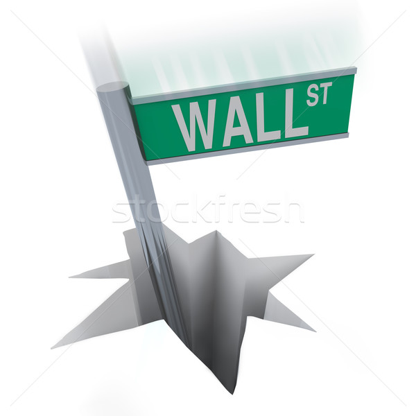Wall Street Bear Market - Sign Falling in Hole Stock photo © iqoncept