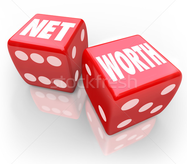 Net Worth Two Dice Total Financial Wealth Value Accounting Risk Stock photo © iqoncept