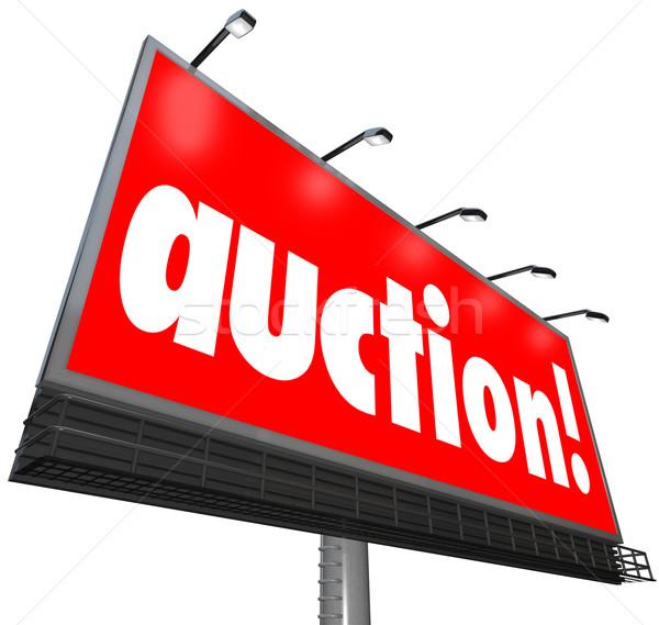 аукционе слово Billboard покупатель продавец недвижимости Сток-фото © iqoncept
