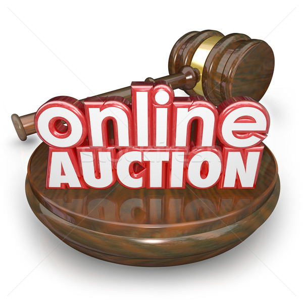 Stock photo: Online Auction Gavel Internet Bidding Web Site Win Buy Item