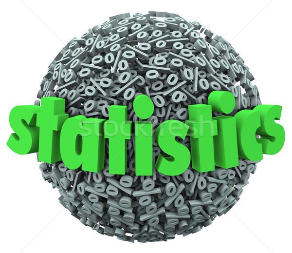 Statistics Word Percentage Sign Sphere Ball Stats Stock photo © iqoncept