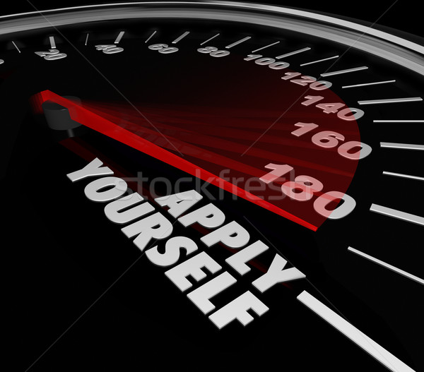 Apply Yourself Speedometer Gauge Success Try Effort Potental Stock photo © iqoncept