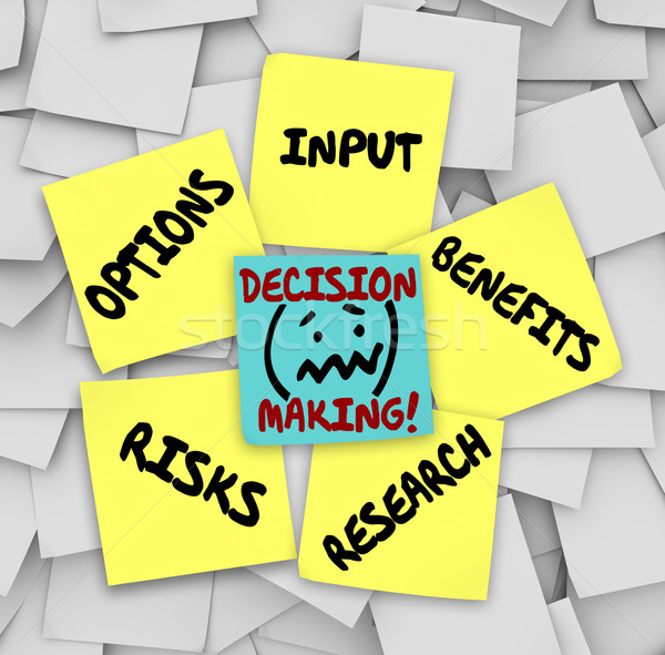 Stock photo: Decision Making Sticky Notes Input Options Risks Benefits Resear