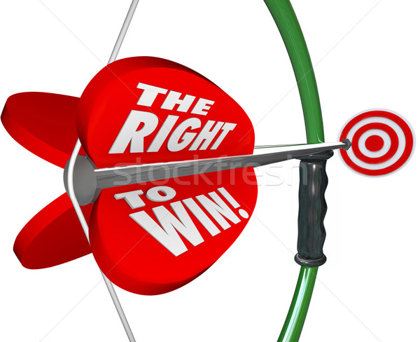 The Right to Win Words Bow Arrow Success Competitive Advantage Stock photo © iqoncept
