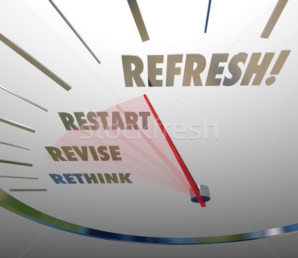 Refresh Rethink Revise Restart Speedometer Gauge Level Stock photo © iqoncept