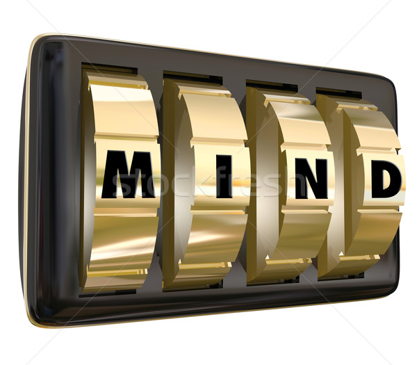 Mind Word Dials Lock Away Memory Ideas Safe Secure Unlock Potent Stock photo © iqoncept