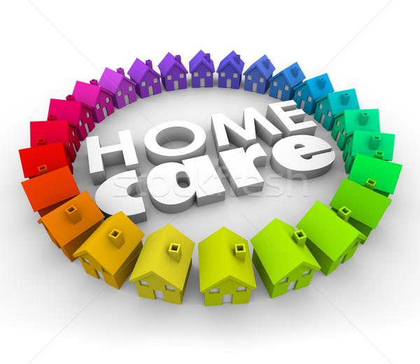 Cuidados en el hogar palabras 3D cartas salud terapia Foto stock © iqoncept