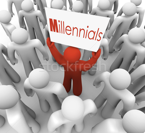 Millennials Man Holding Sign Crowd Young People Generation Stock photo © iqoncept