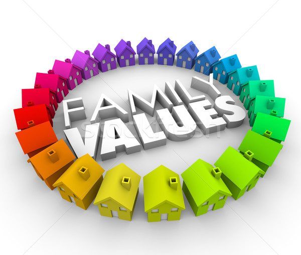 Family Values 3d Words Homes Houses Circle Ethics Morals Stock photo © iqoncept