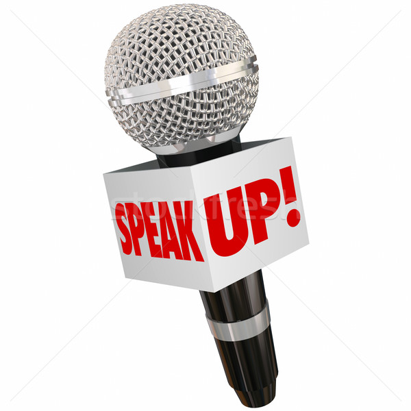 Speak Up Microphone Interview Reporter Share Voice Opinion Feedb Stock photo © iqoncept