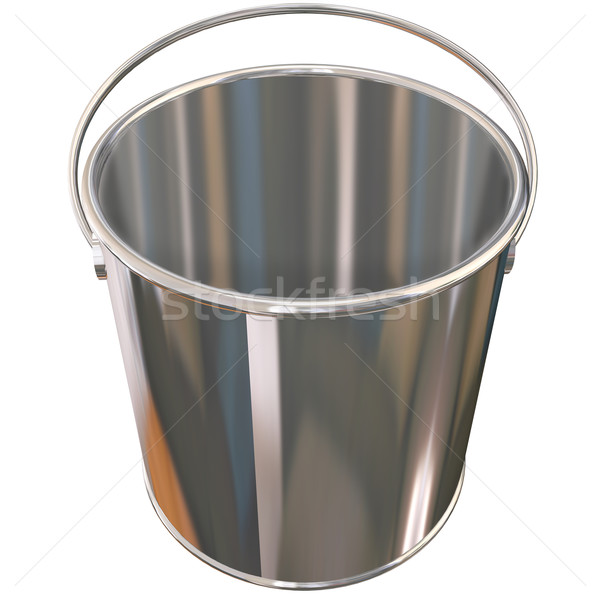 Shiny Metal Empty Silver Bucket Pail Stock photo © iqoncept