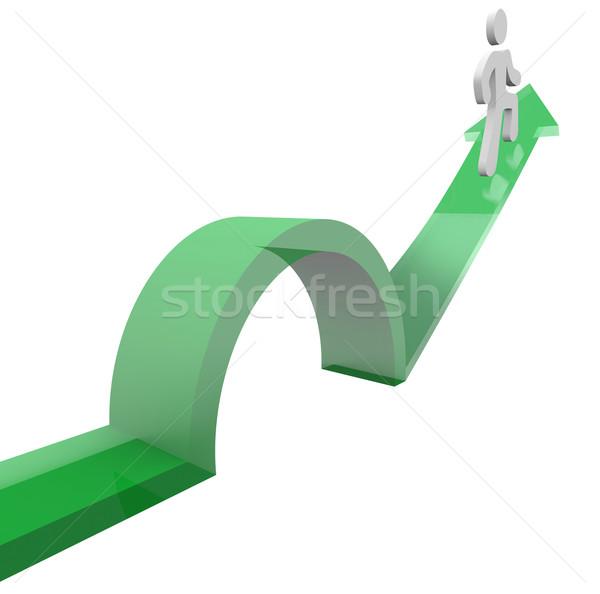 Man on Arrow Jumping Over Object Avoiding Problem Stock photo © iqoncept