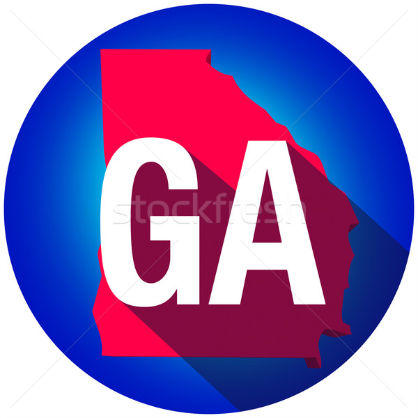 Georgia GA Letters Abbreviation Red 3d State Map Long Shadow Cir Stock photo © iqoncept