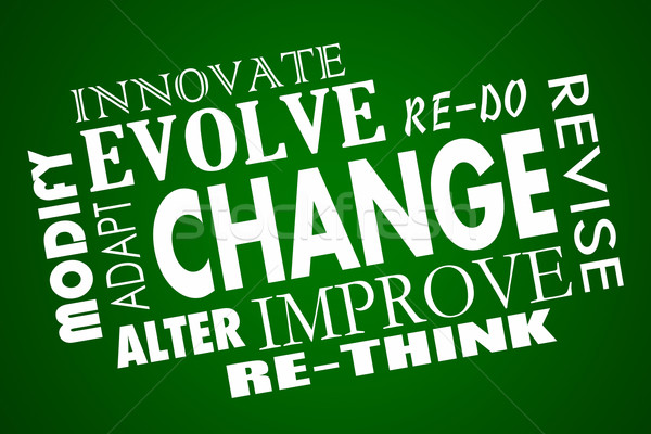 Change Adapt Evolve Improve Revise Rethink Word Collage Stock photo © iqoncept