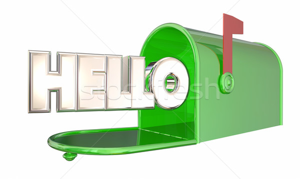 Hello Greeting Mailbox Word Welcome 3d Illustration Stock photo © iqoncept