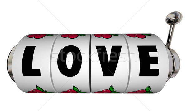 Love Jackpot Slot Machine Wheels Dials Romance Win Lucky Casino  Stock photo © iqoncept