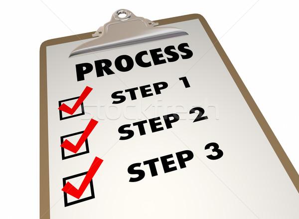 プロセス 手順 クリップボード チェックリスト 単語 ストックフォト © iqoncept
