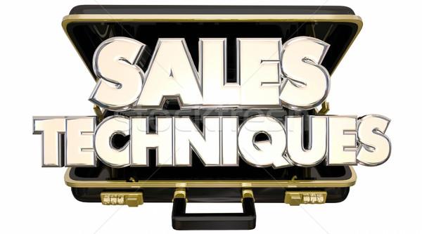 Sales Techniques Process System Advice Tips Briefcase 3d Words Stock photo © iqoncept