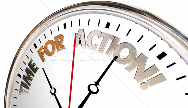 Time for Action Now Take Control Act Clock 3d Illustration Stock photo © iqoncept