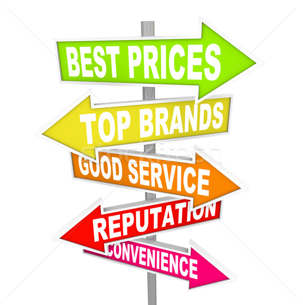 Store Advertisements on Arrow Signs - Unique Selling Points Stock photo © iqoncept