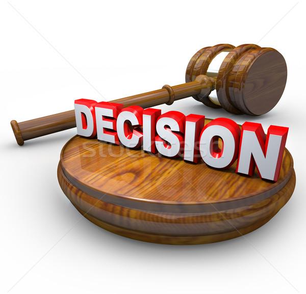 Beslissing rechter hamer woord finale vonnis Stockfoto © iqoncept