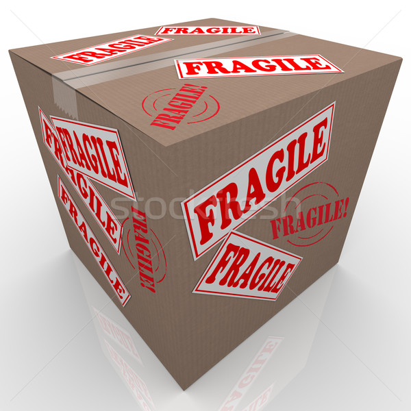 Fragile Cardboard Box Shipment Package Handle with Care Stock photo © iqoncept