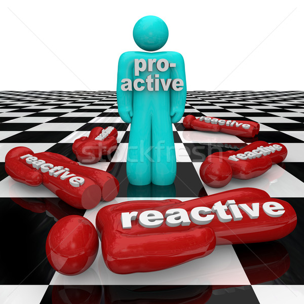 Proactive Person Wins Vs Reactive Inactivity People Lose Stock photo © iqoncept