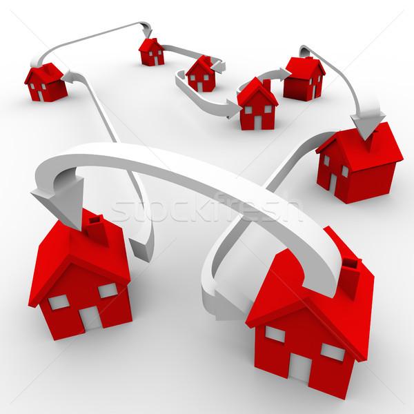 Wiele czerwony domów sąsiedztwo ruchu społeczności Zdjęcia stock © iqoncept