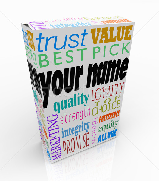 Name Produkt Feld Paket Marketing Worte Stock foto © iqoncept