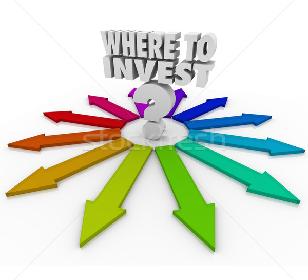 Where to Invest Question Mark Many Arrows Pointing Choices Stock photo © iqoncept