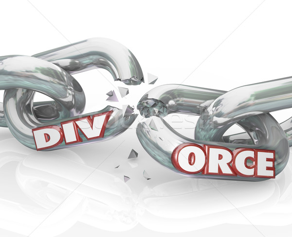 Divorce Word Breaking Chain Links Separation Marriage Stock photo © iqoncept
