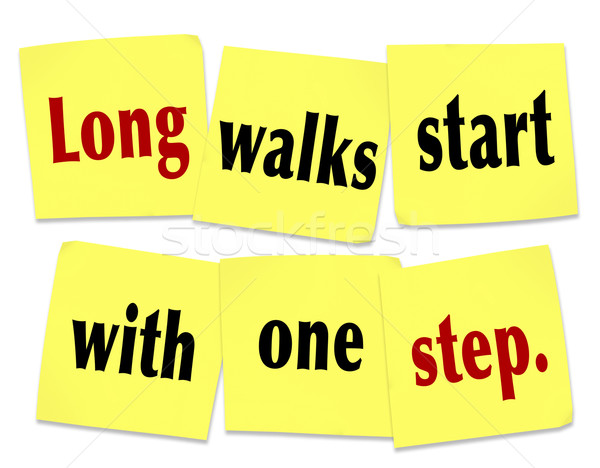Long Walks Start With One Step Saying Quote Sticky Notes Stock photo © iqoncept