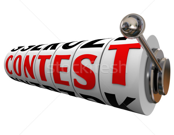 Stock photo: Contest Word Slot Machine Wheels Play Win Jackpot