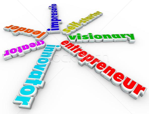 Przedsiębiorca 3D słowa początku firmy Zdjęcia stock © iqoncept