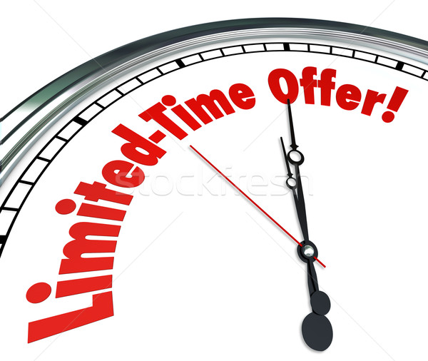 Stock photo: Limited Time Offer Clock Special Saving sale Clearance Event Dea