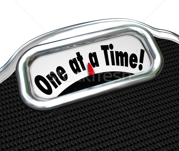 One at a Time Words Scale Overweight Fat Obesity Scolding Stock photo © iqoncept