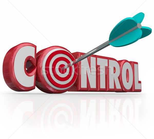 Control Word Arrow Target Bull's Eye Command Position Leadership Stock photo © iqoncept