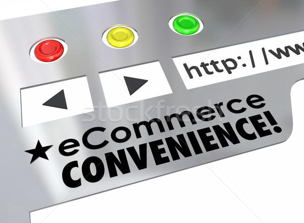 Ekereskedelem kényelmesség weboldal online bolt piactér szavak Stock fotó © iqoncept