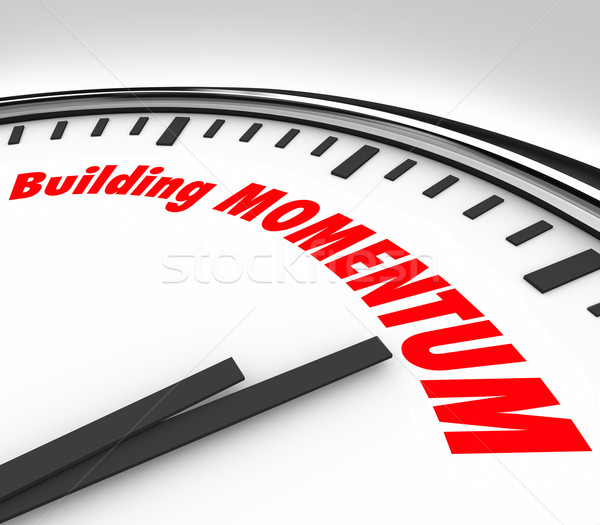 Building Momentum Clock Time Words Moving Forward Stock photo © iqoncept