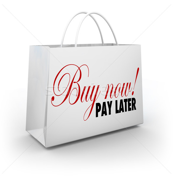 Buy Now Pay Later Words Shopping Bag Credit Financing Offer Deal Stock photo © iqoncept